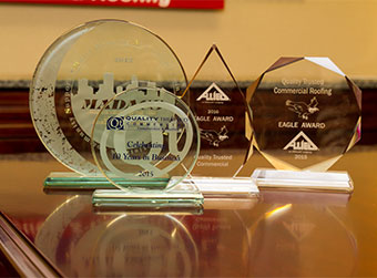 a cluster of award trophies.